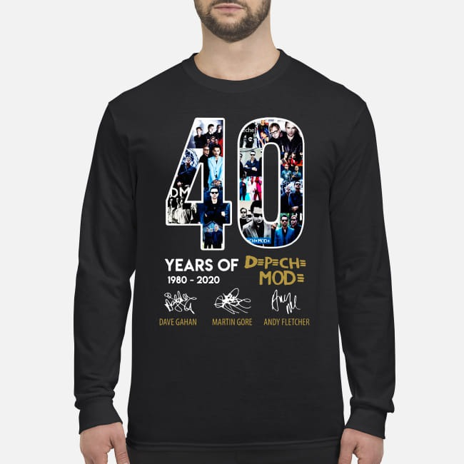 40 years of Depeche Mode signatures men's long sleeved shirt
