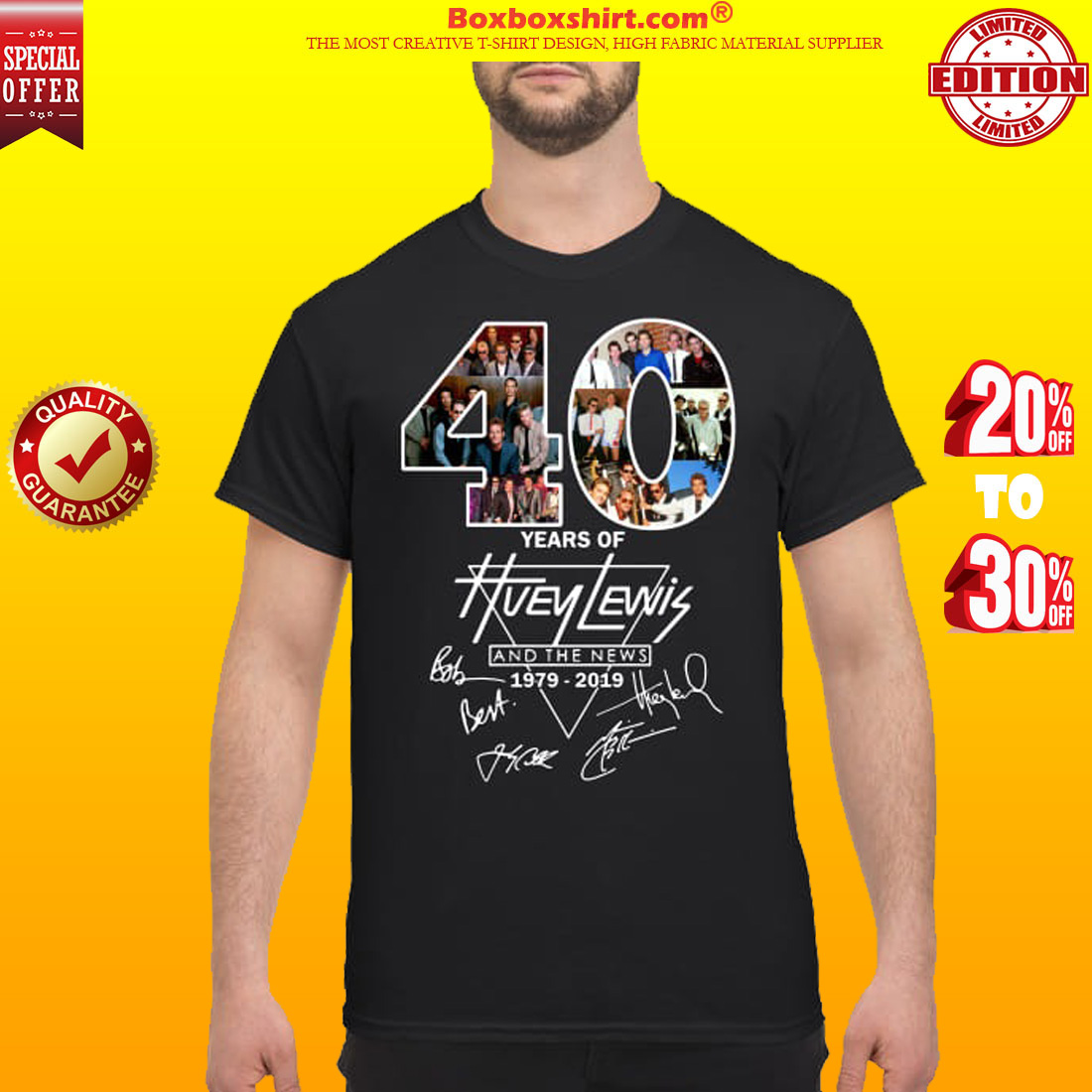 40 years of Huey Lewis and the News signatures shirt