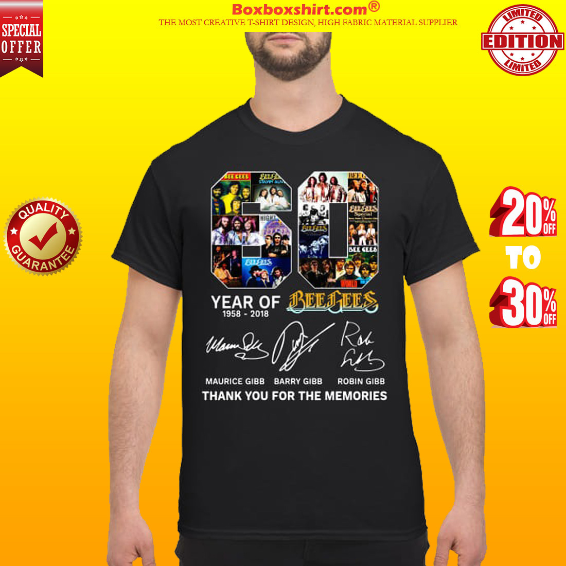 60 years of Bee Gees Thank you for the memories classic shirt