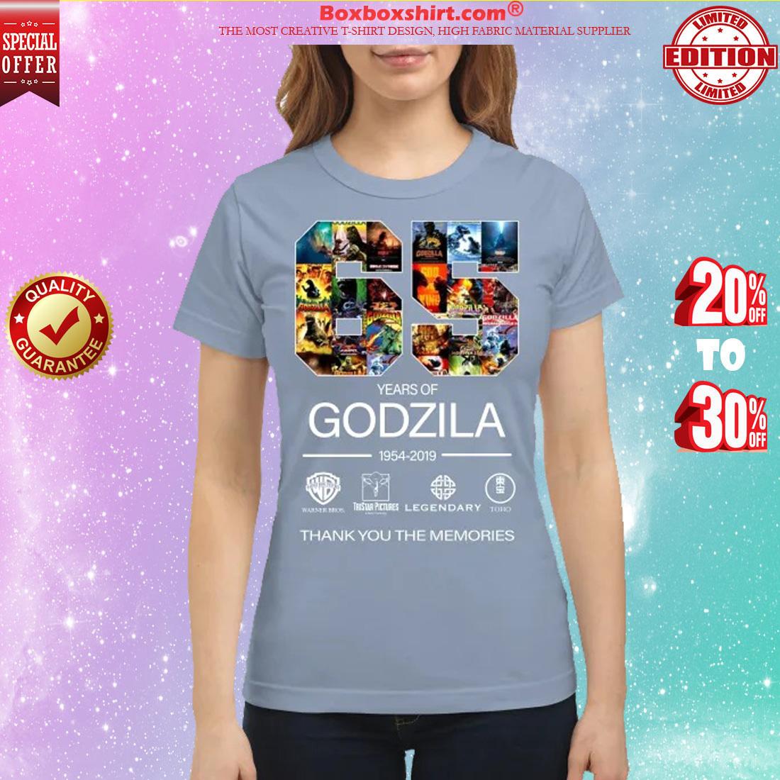 65 year of Godzila thank you the memories classic shirt