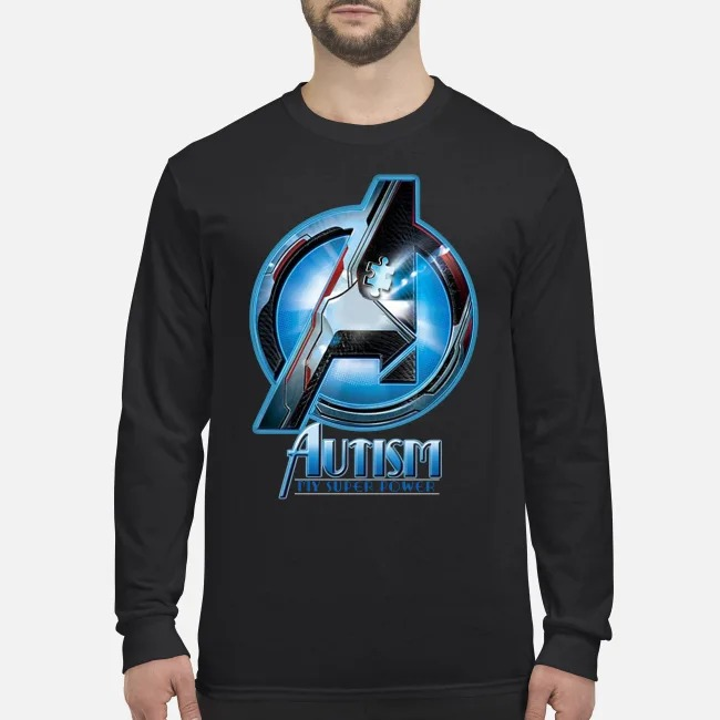 Avenger autism my super power men's long sleeved shirt