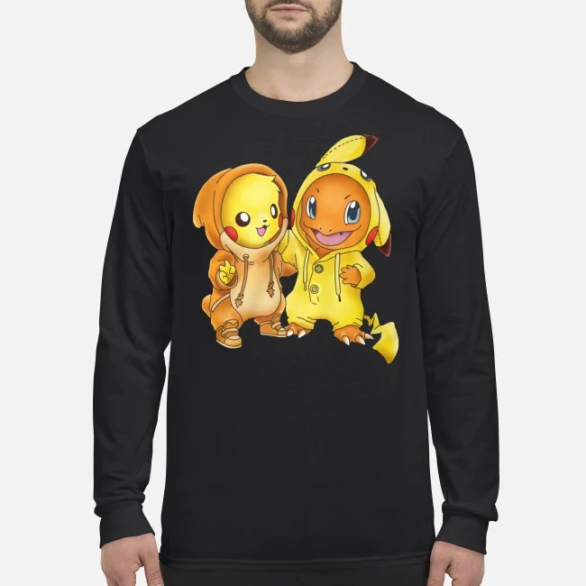 Baby pikachu hitokage charmander men's long sleeved shirt