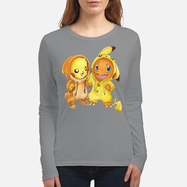 Baby pikachu hitokage charmander women's long sleeved shirt