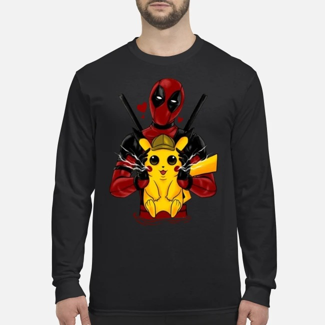 Deadpool hug pikachu men's long sleeved shirt