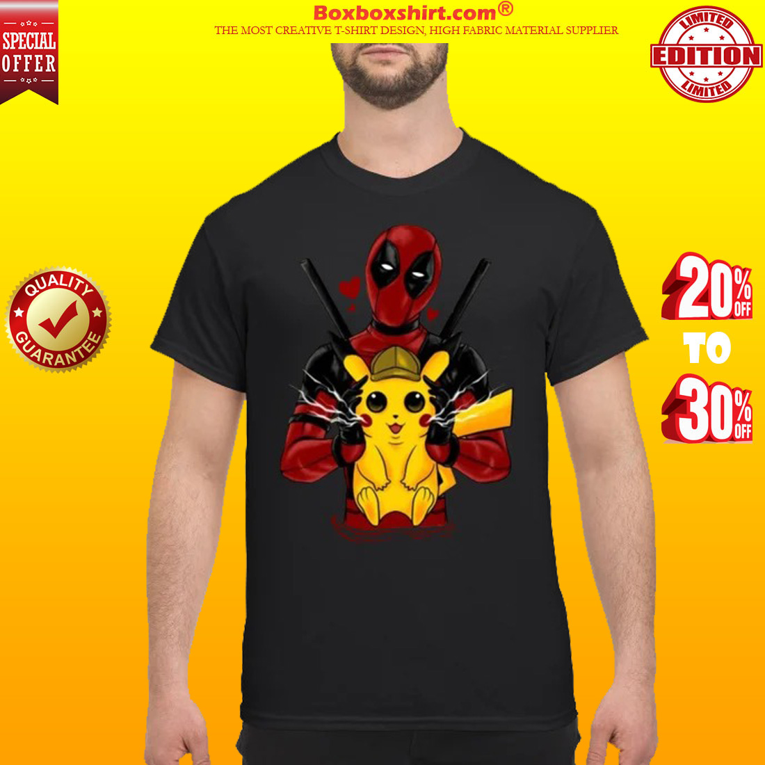 Deadpool hug pikachu shirt