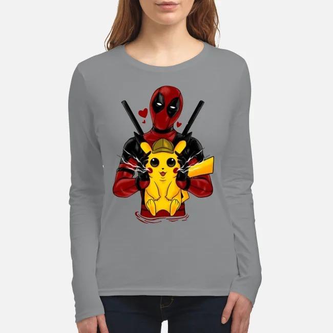 Deadpool hug pikachu women's long sleeved shirt