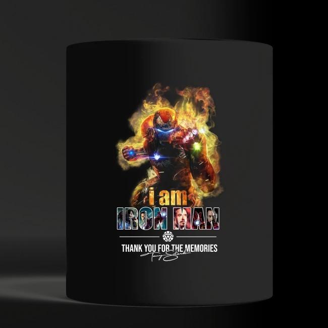 I'm Iron man thank for the memories signatures black mug