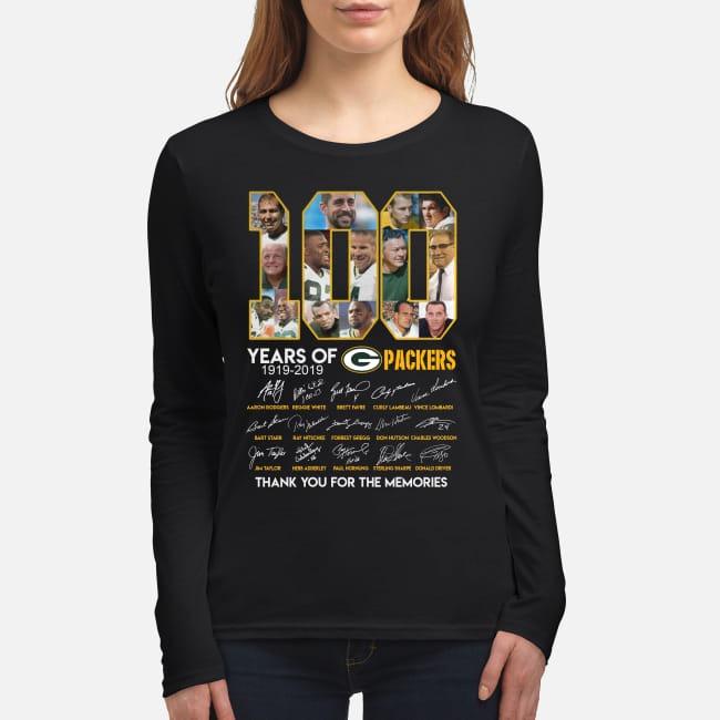 100 years of Green Bay Packers women's long sleeved shirt