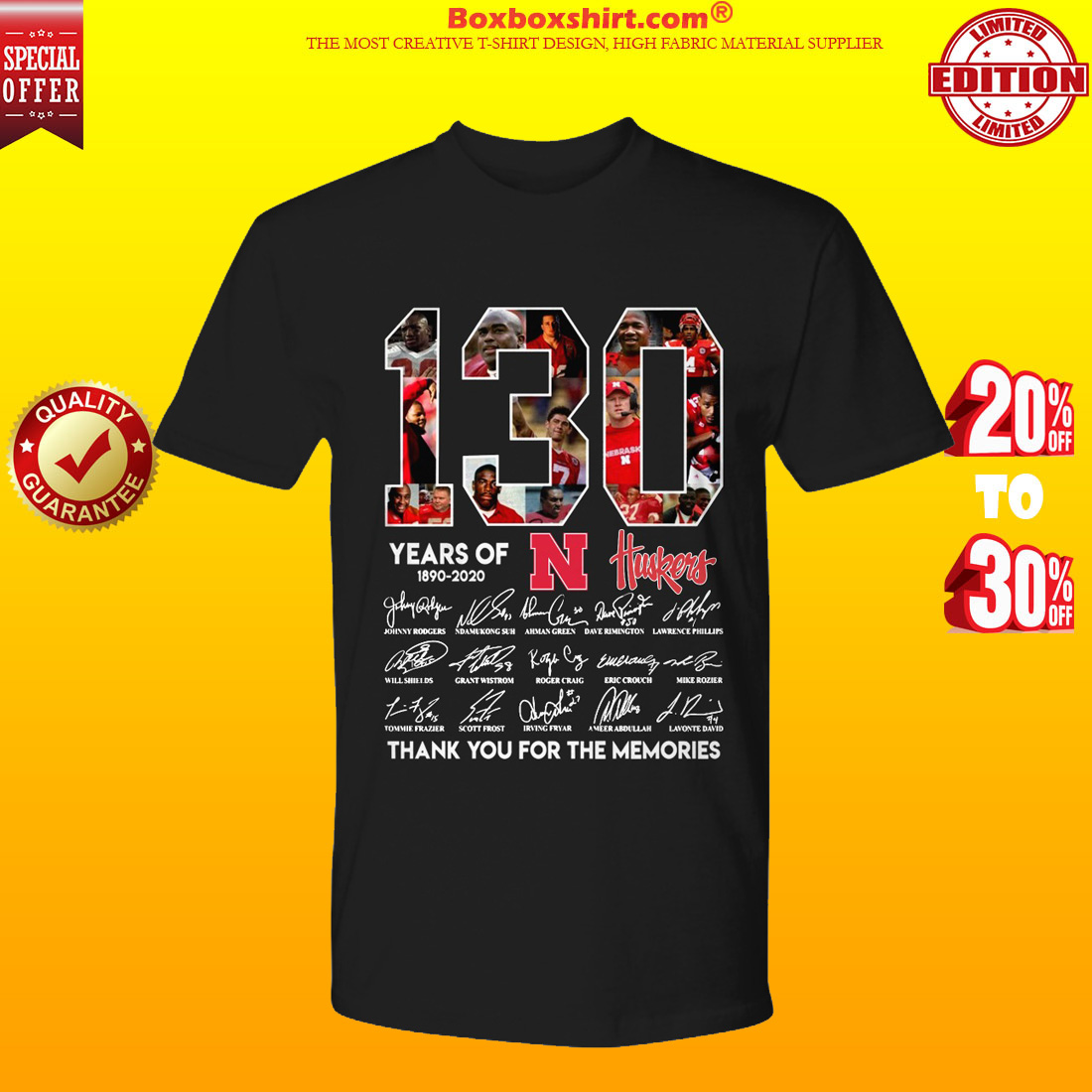 130 Years Of Huskers 1890 2020 shirt