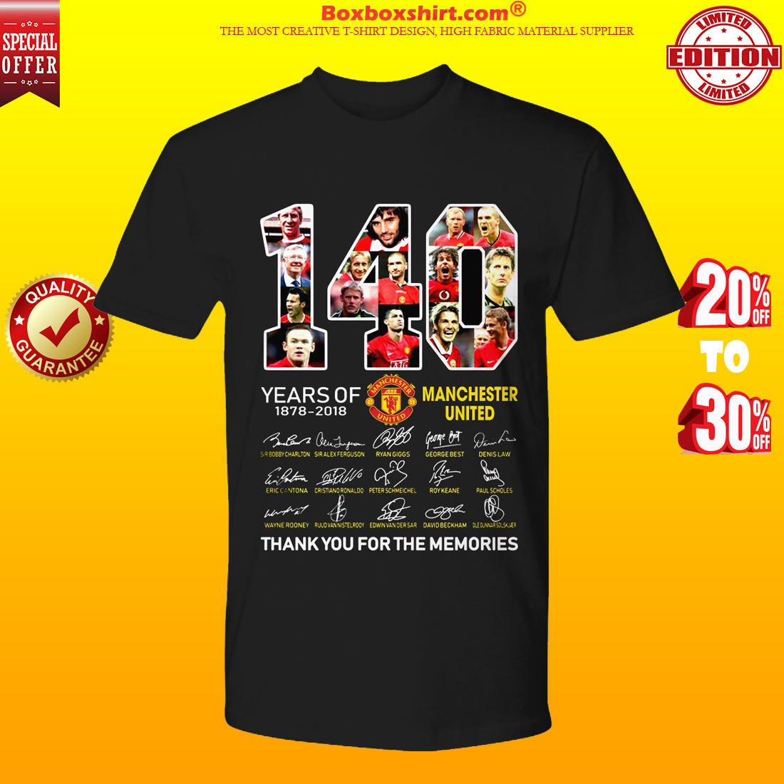 140 years of Manchester United thank you for memories shirt