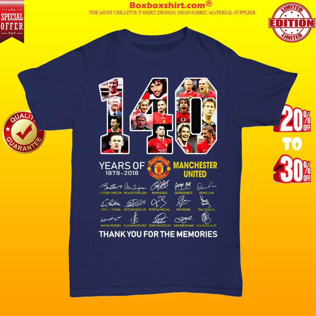 140 years of Manchester United thank you for memories unisex tee shirt