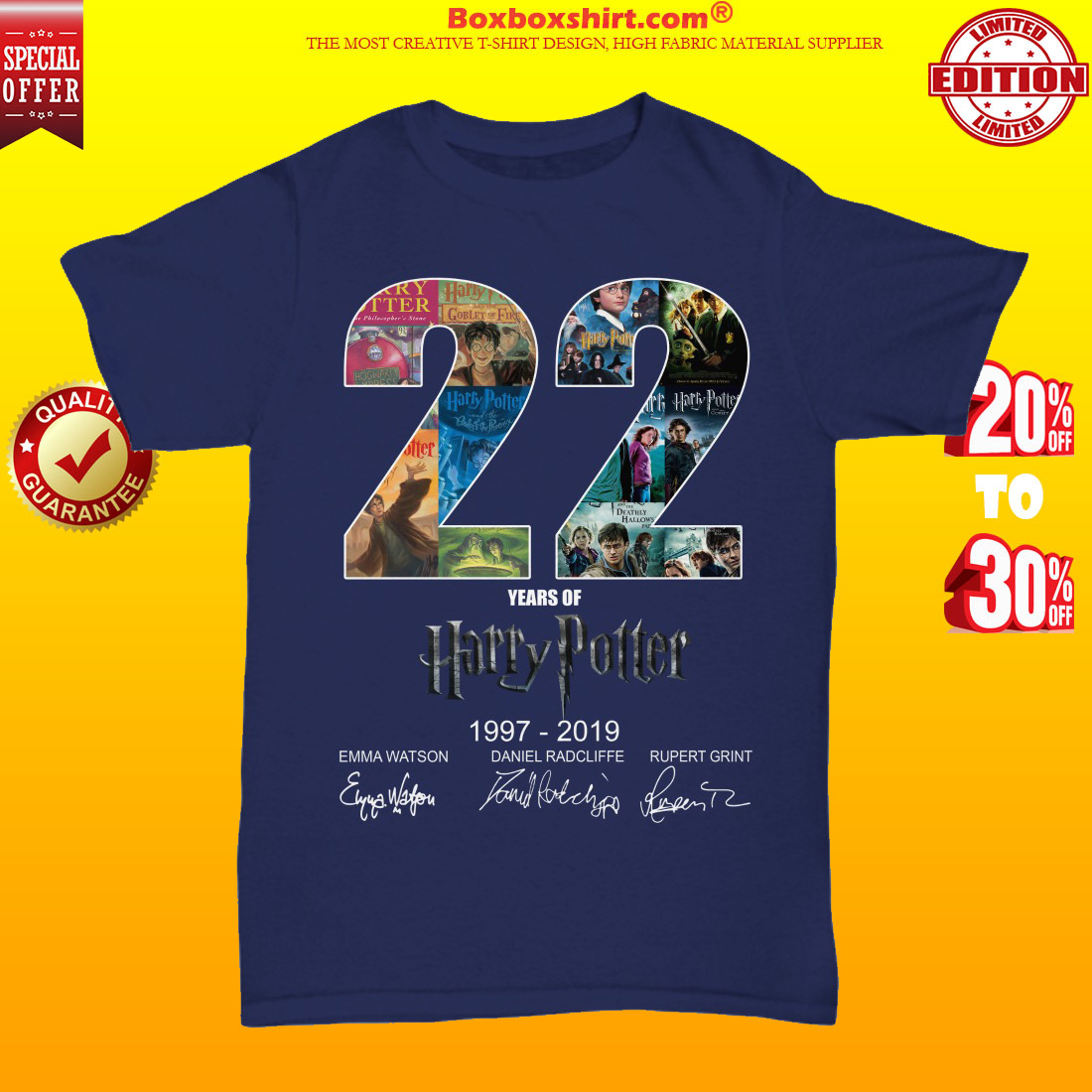 22 years of Harry Potter 1997 2019 unisex tee shirt