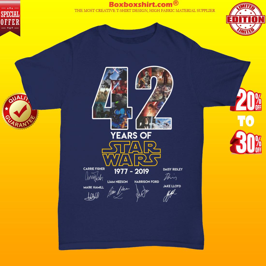 42 years of star wars 1997 2019 unisex tee shirt