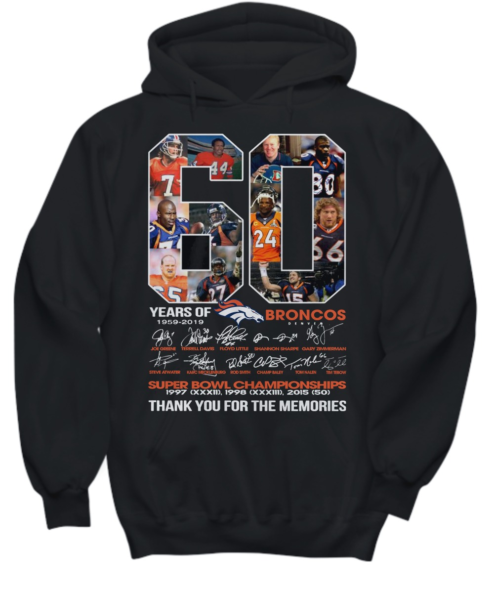 60 years of Broncos 1959 2019 thank you for the memories shirt and hoodie