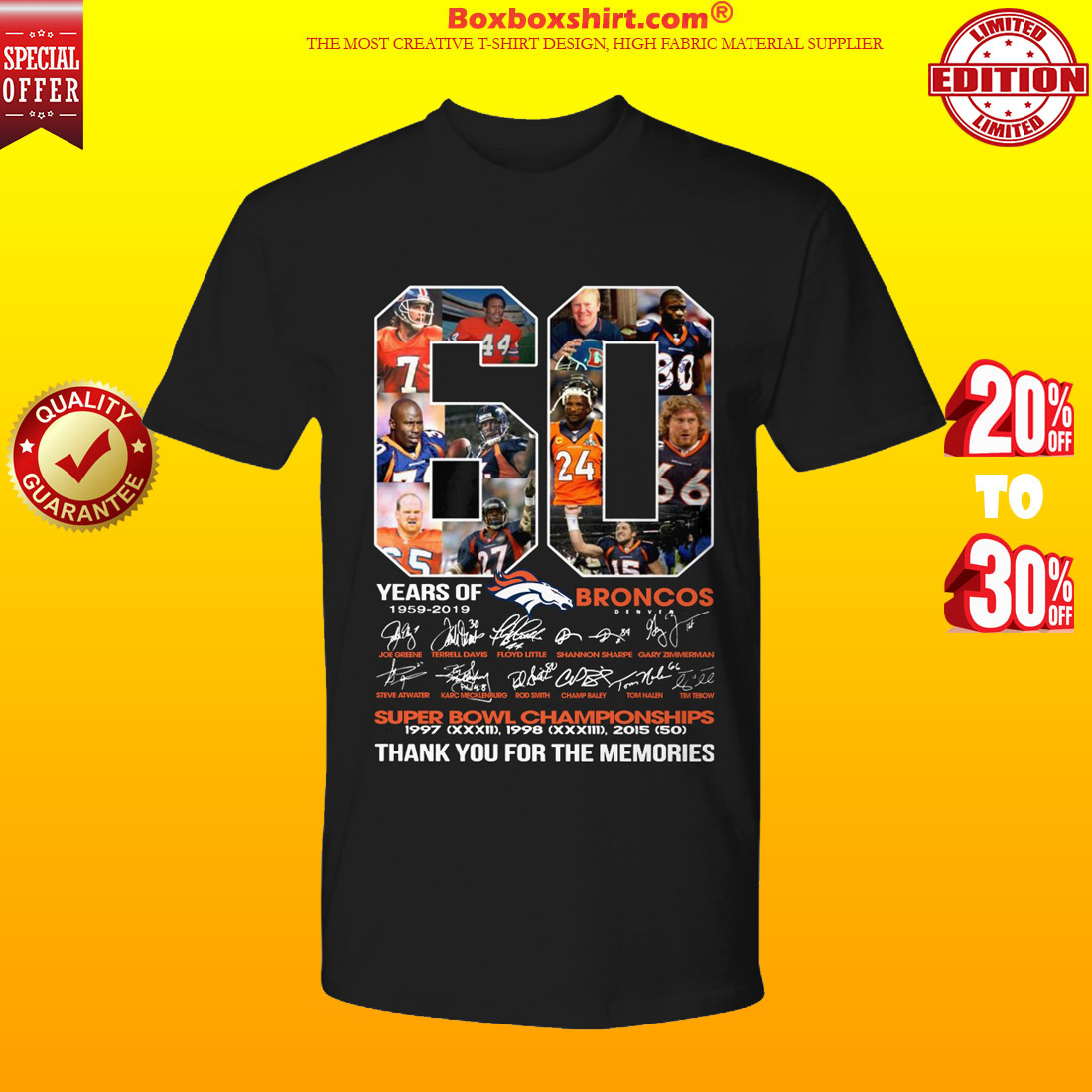 60 years of Broncos 1959 2019 thank you for the memories shirt