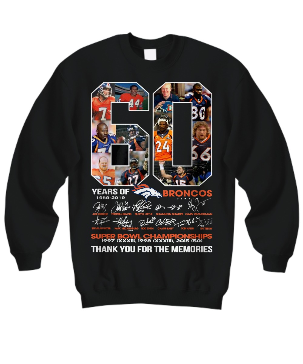 60 years of Broncos 1959 2019 thank you for the memories sweatshirt