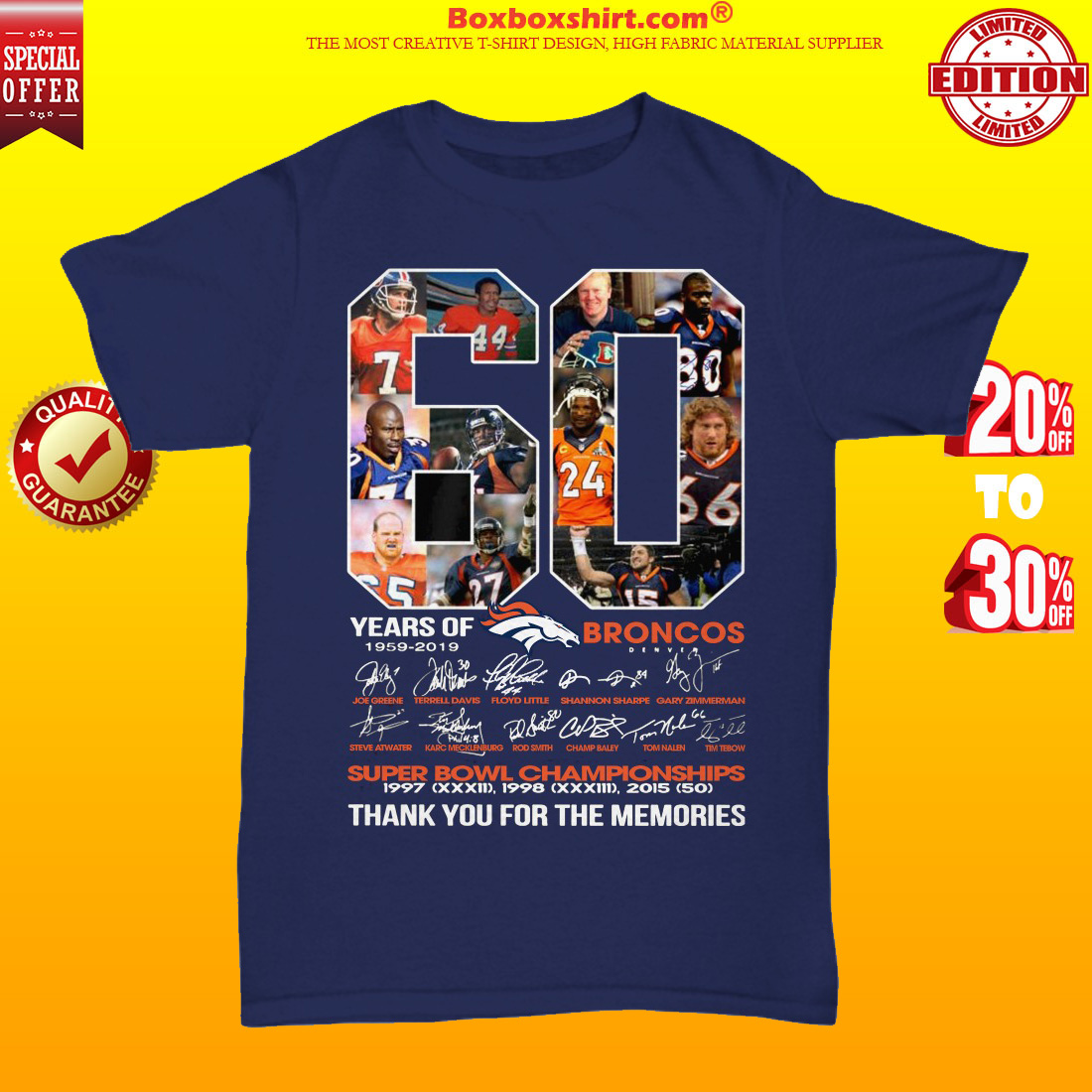 60 years of Broncos 1959 2019 thank you for the memories unisex tee shirt