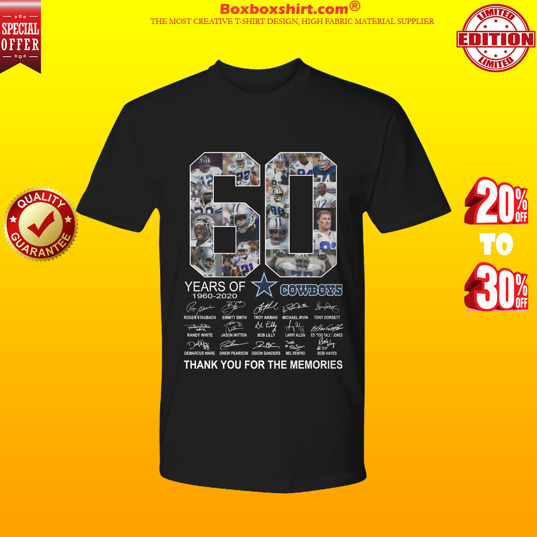 60 years of Dallas Cowboys signatures thank you for the memories shirt