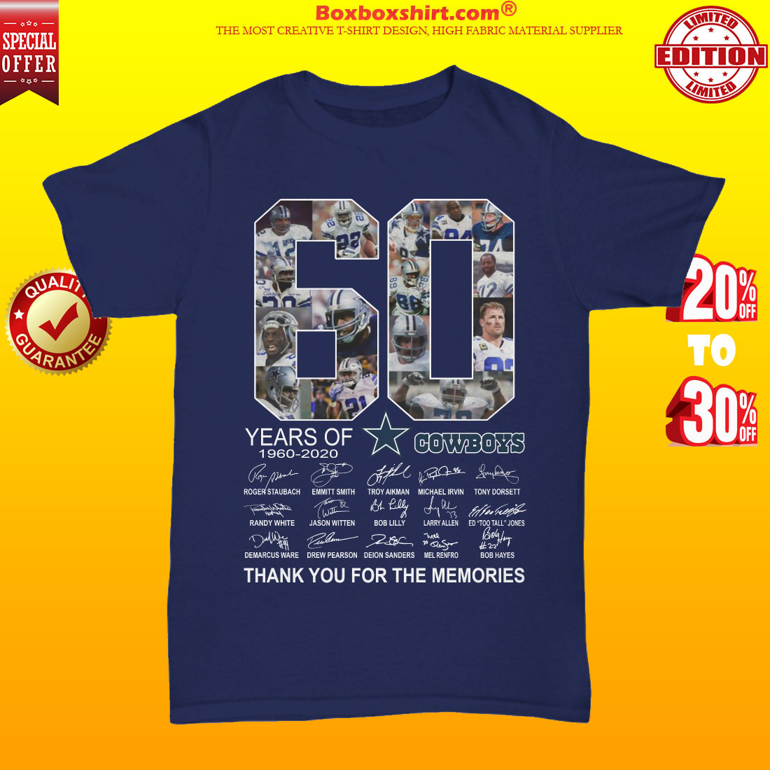 60 years of Dallas Cowboys signatures thank you for the memories unisex tee shirt