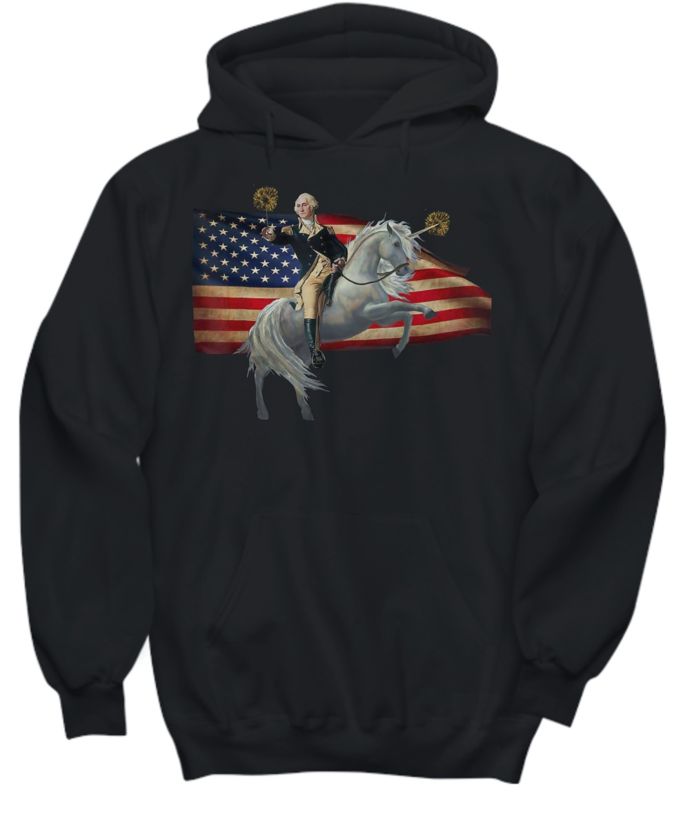 American flag Washingtion riding unicorn shirt and hoodie