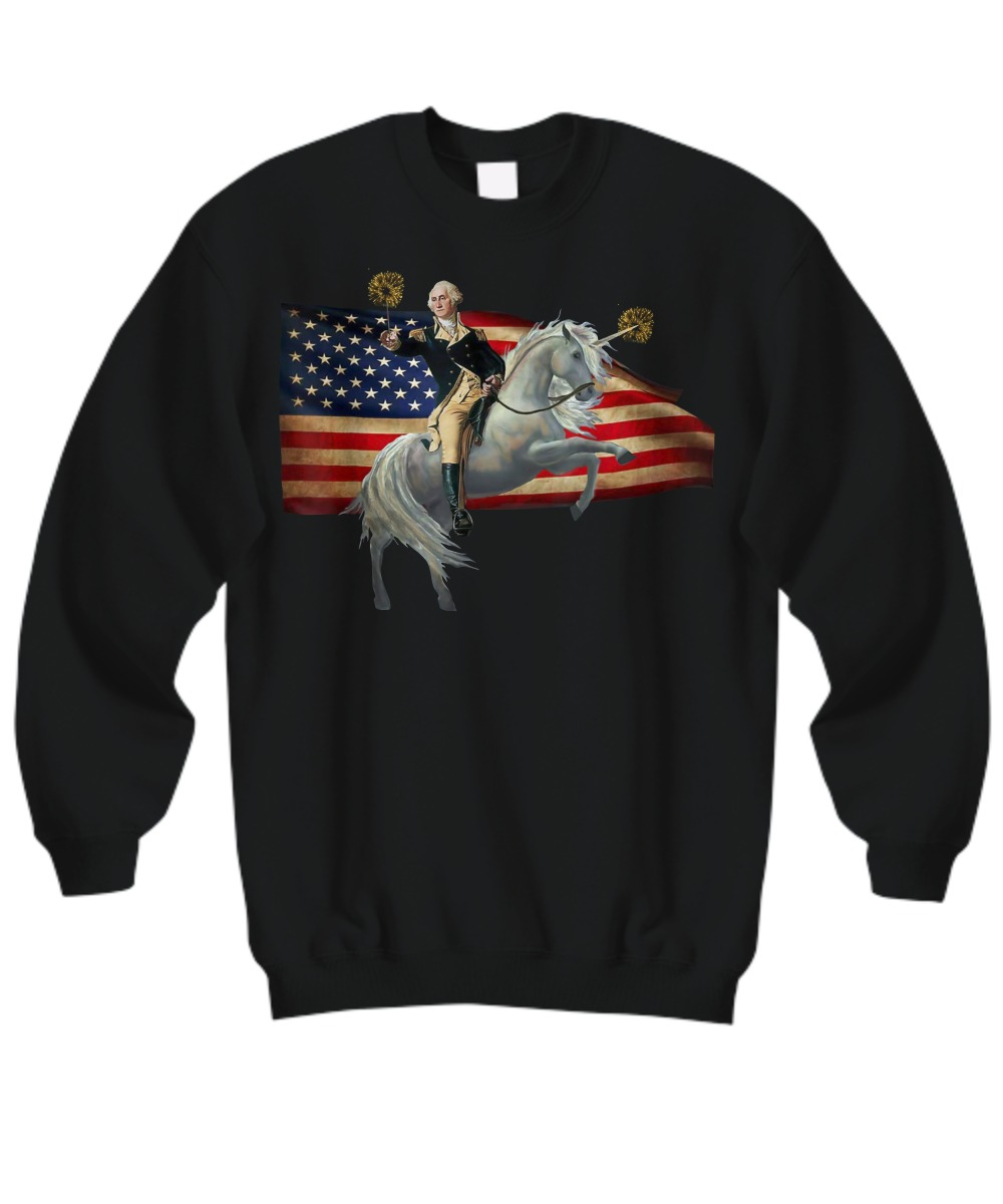 American flag Washingtion riding unicorn sweatshirt