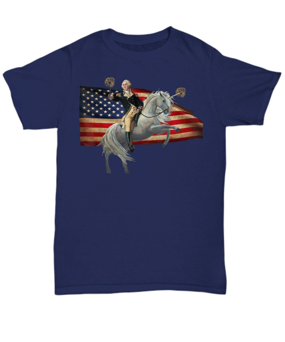American flag Washingtion riding unicorn unisex tee shirt
