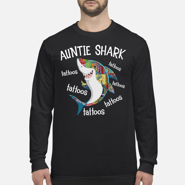 Auntie shark tattoos men's long sleeved shirt