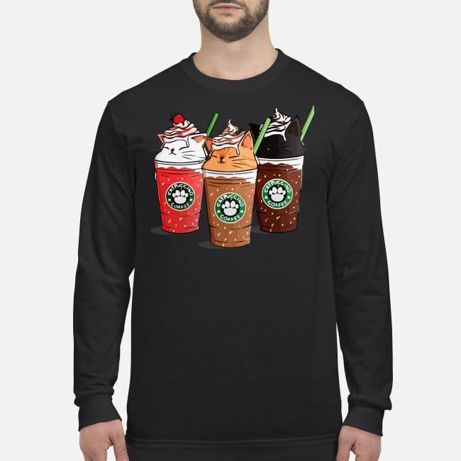 Catpuccino coffee men's long sleeved shirt