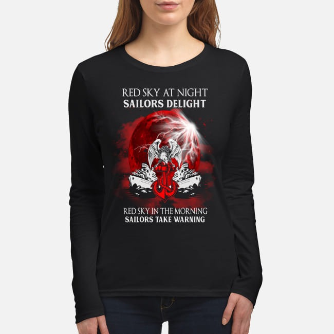 Red sky at night sailors delight women's long sleeved shirt