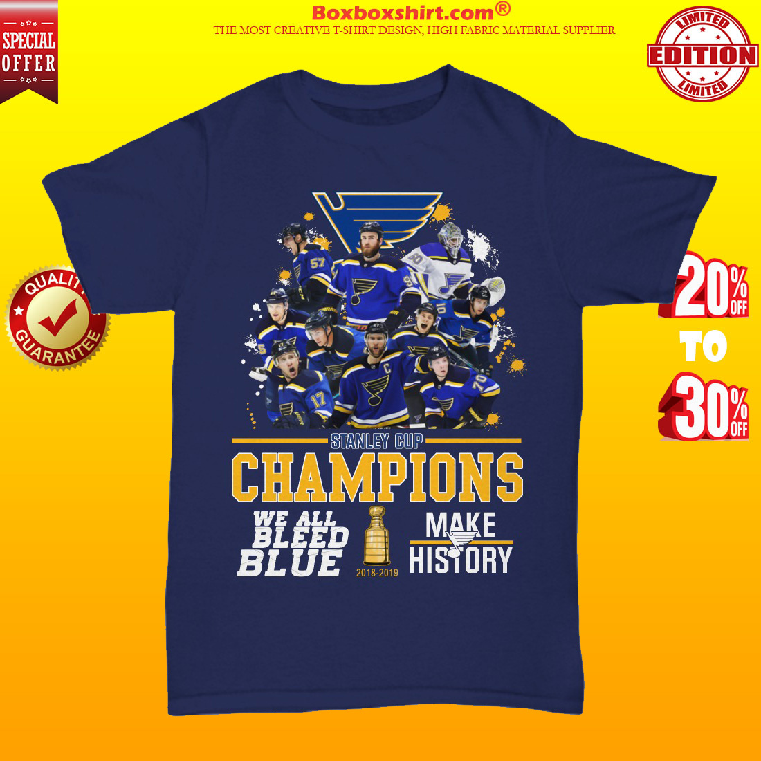 Stanley cup champions we all bleed blue make history unisex tee shirt