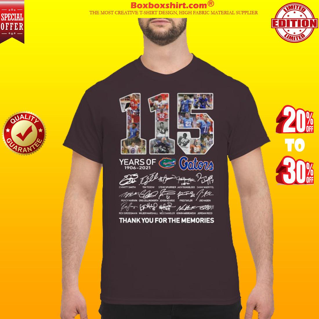 115 years of Gators 1906 2021 signatures classic shirt