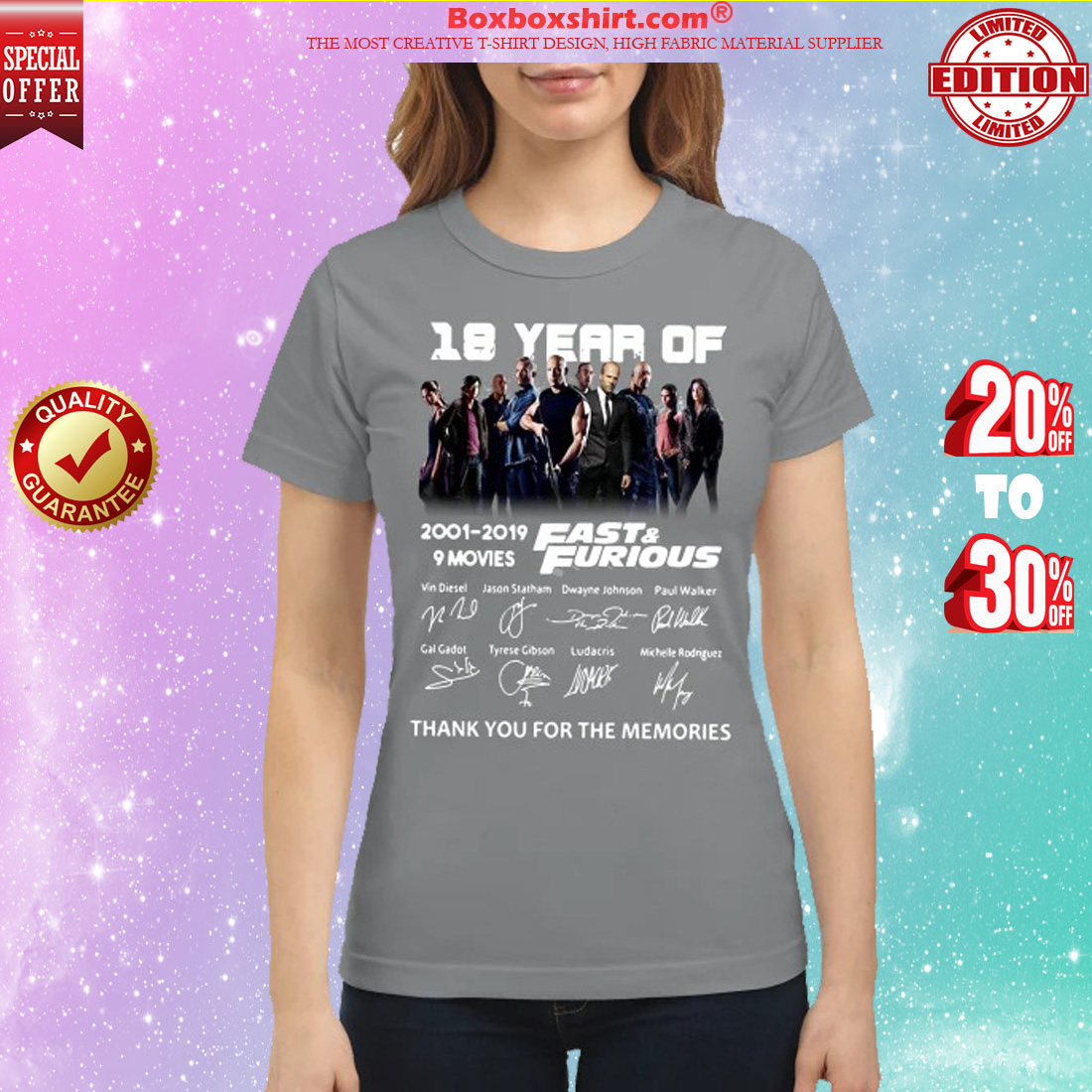 18 year of fast and furious 2001 2019 thank you for the memories classic shirt
