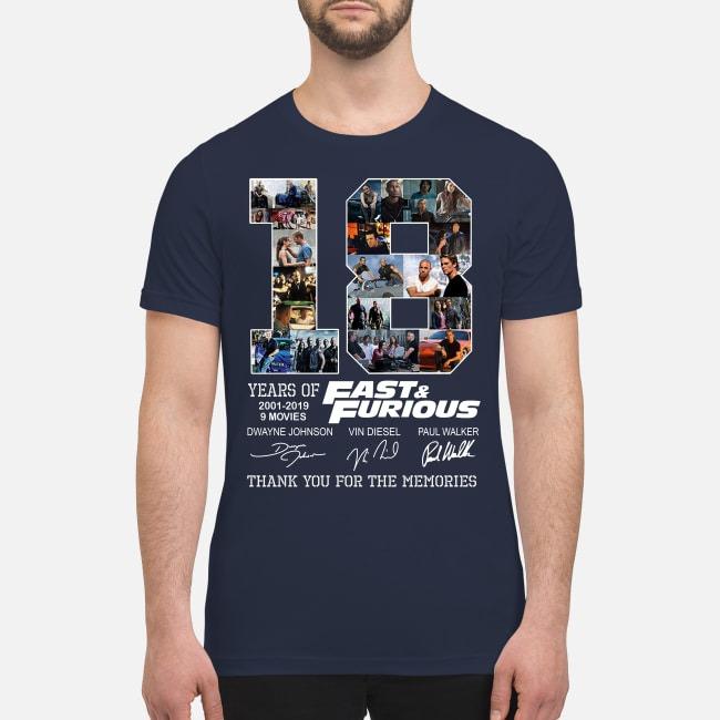 18 years of fast and furious Dwayne Johnson Vin diesel Paul Walker premium shirt