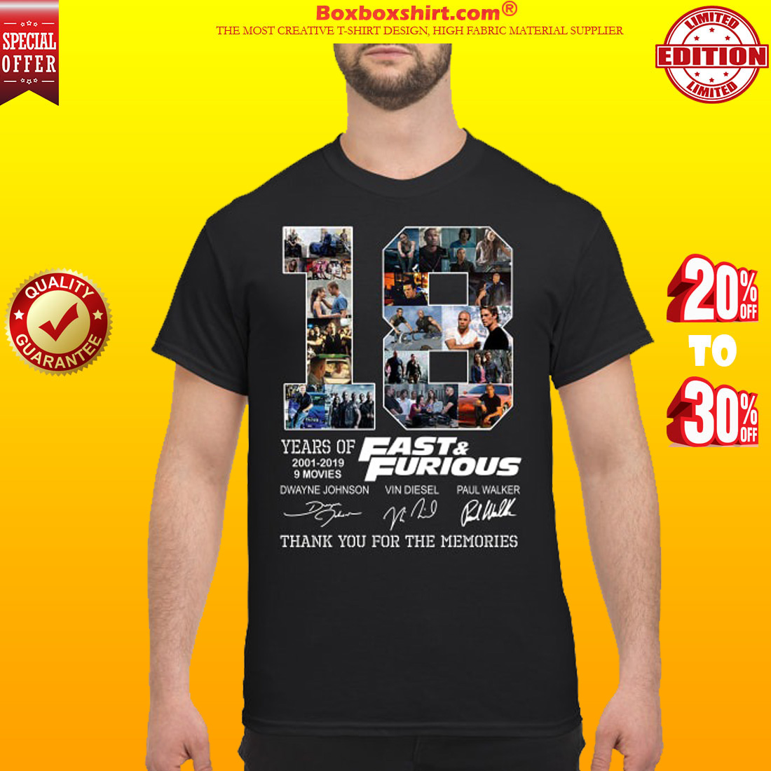 18 years of fast and furious Dwayne Johnson Vin diesel Paul Walker shirt
