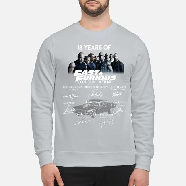 18 years of fast and furious Dwayne Johnson Vin diesel Paul Walker sweatshirt