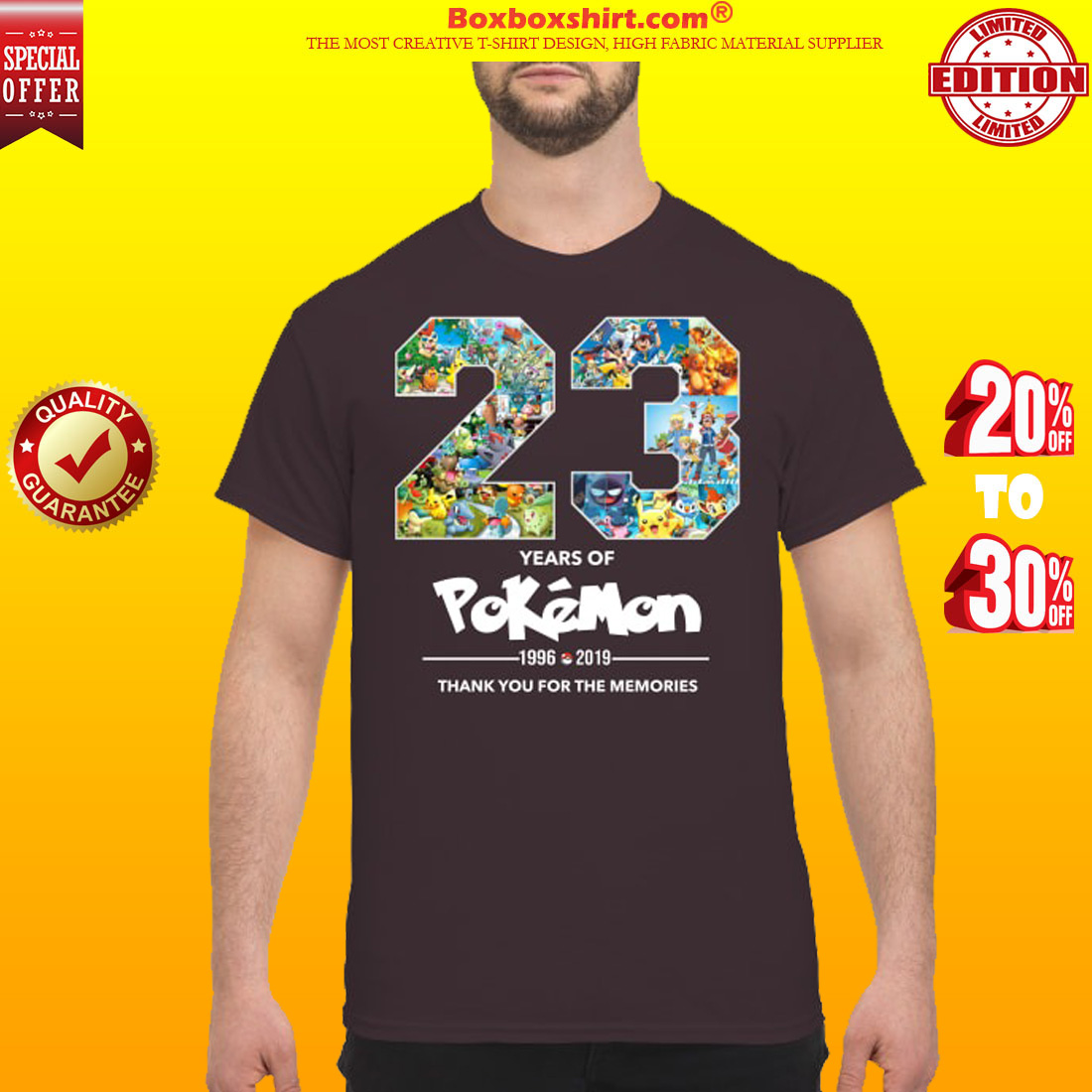 23 years of Pokemon 1996 2019 thank you for memories shirt