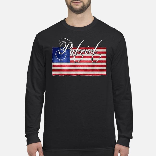 American betsy ross flag Patriot men's long sleeved shirt