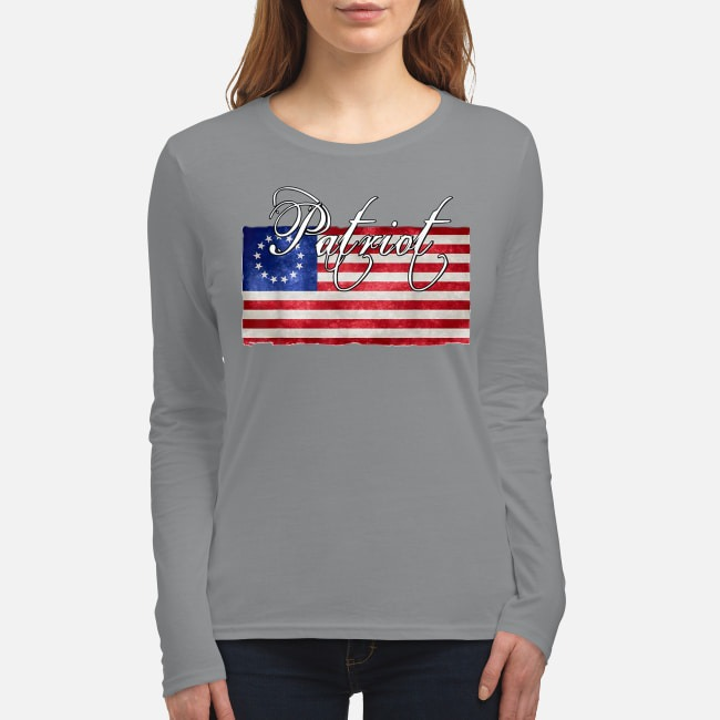 American betsy ross flag Patriot women's long sleeved shirt