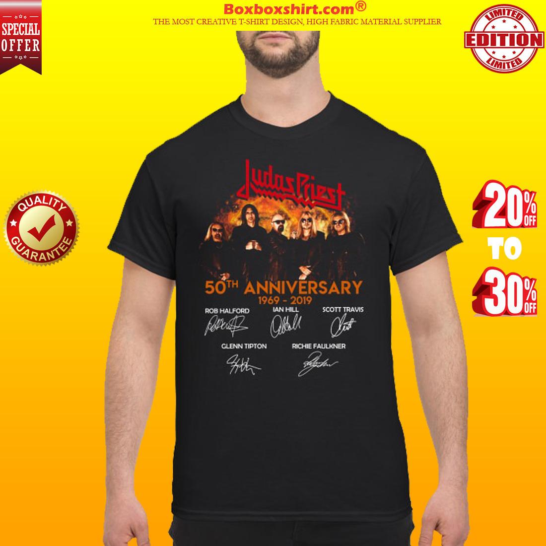 Judas Priest 50th anniversary 1969 2019 signatures shirt