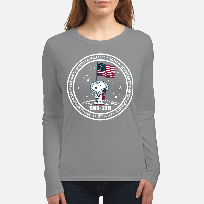 Snoopy Apollo 11 50th anniversary moon landing women's long sleeved shirt