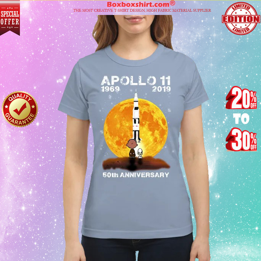 Snoopy and Charlie Brown apollo 11 1960 2019 50th Anniversary classic shirt