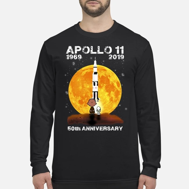 Snoopy and Charlie Brown apollo 11 1960 2019 50th Anniversary men's long sleeved shirt