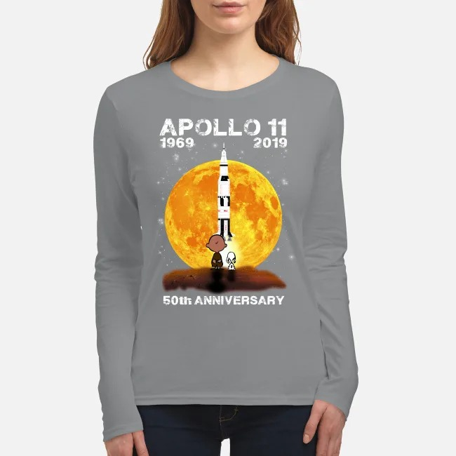 Snoopy and Charlie Brown apollo 11 1960 2019 50th Anniversary women's long sleeved shirt