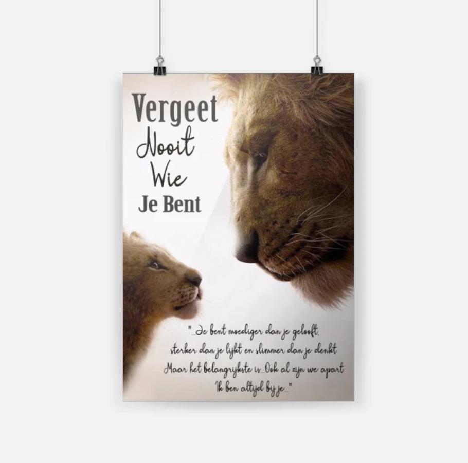 De Leeuwenkoning vergeet nooit wie je bent cool poster