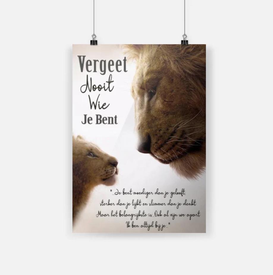 De Leeuwenkoning vergeet nooit wie je bent hot poster