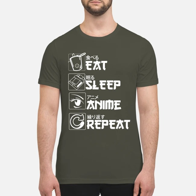 Eat sleep anime repeat premium men's shirt