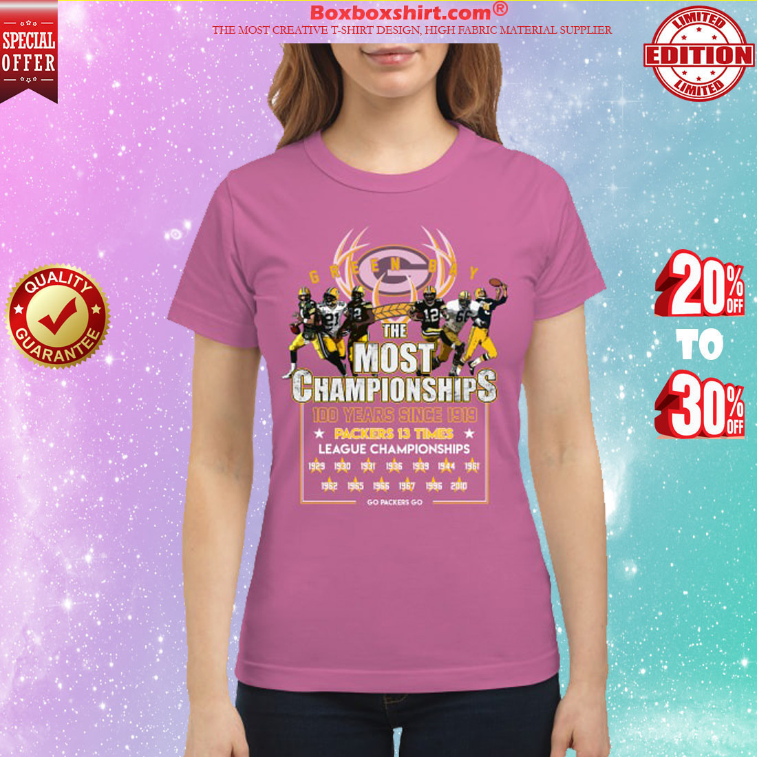 Green bay Packers the most championship 100 years classic shirt