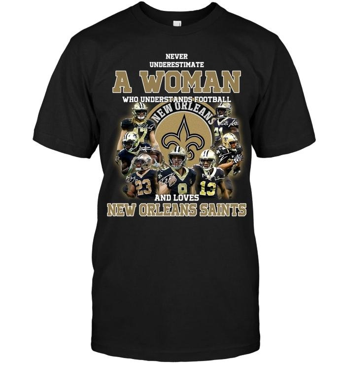 A woman who understand football and love New Orleans Saints shirt
