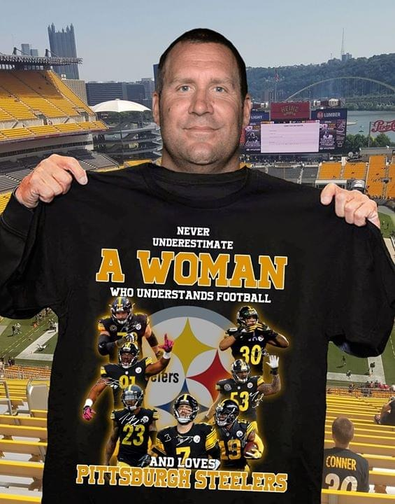 A woman who understand football and love Pittsburgh Steelers shirt
