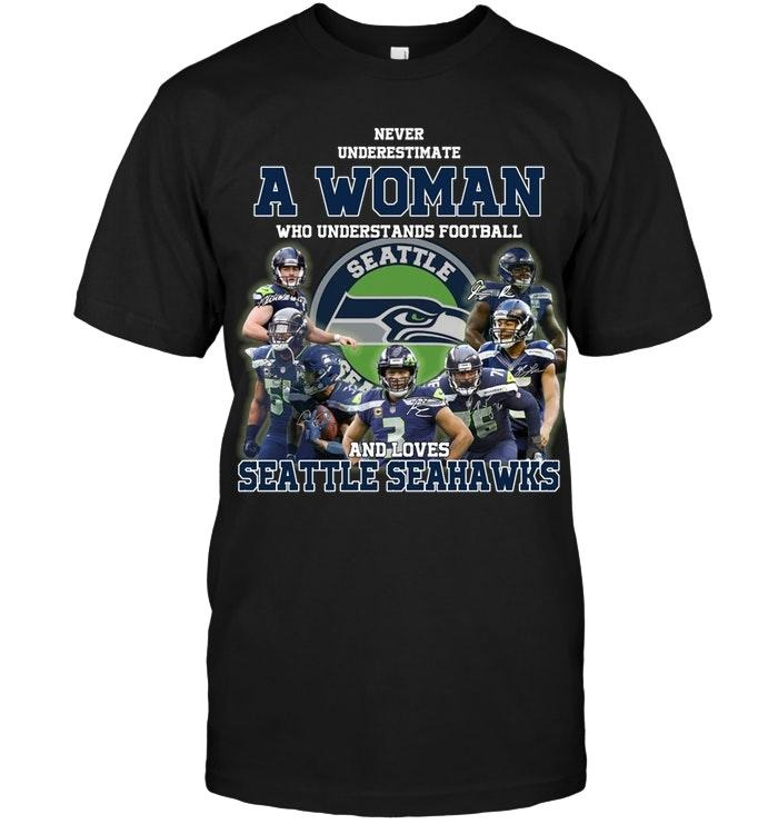 A woman who understand football and love Seatle Seahawks shirt